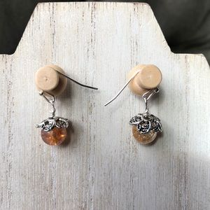 Handmade Orange Dew Drop Earrings